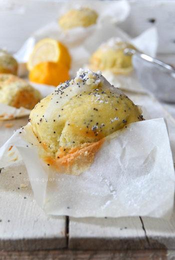 Muffin giganti al cocco e limone con semi di papavero